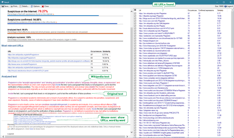 Screenshot: Plagius result screen with tips